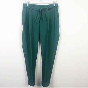 ASOS | Green Belted Pants Tapered Leg Size 2